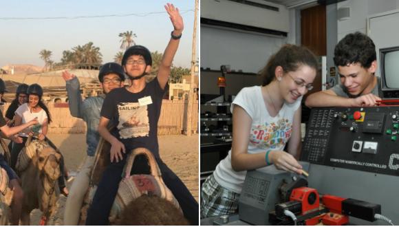 שתי תמונות צמודות באחת ילדה וילד במעבדת הנדסה ובשניה ילדים סינים וישראלים במוזיאון רוכבים על אופניים זה מול זה